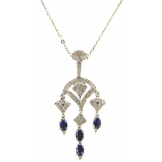 18k White Gold Fancy Dangle 3/5ct TDW Diamond and Sapphire Chandelier Necklace (H-I, SI1-SI2)