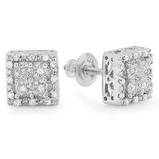 Sterling Silver 1/6ct TDW Diamond Square Stud Earrings (I-J, I2-I3)