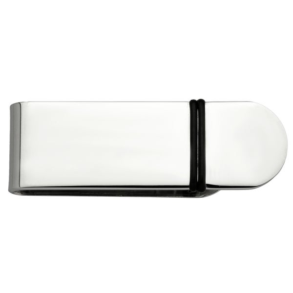 Stainless Steel and Rubber Highlight Polished Money Clip