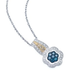 Sterling Silver 1/4ct TDW Blue and Brown Diamond Necklace