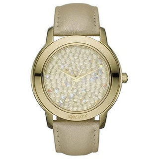 DKNY Women's NY8435 Brown Leather Quartz Watch with Gold Dial