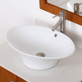 ELITE 41102659BN High Temperature Grade A Ceramic Bathroom Sink With Unique Oval Design and Bushed Nickel Finish Faucet Combo