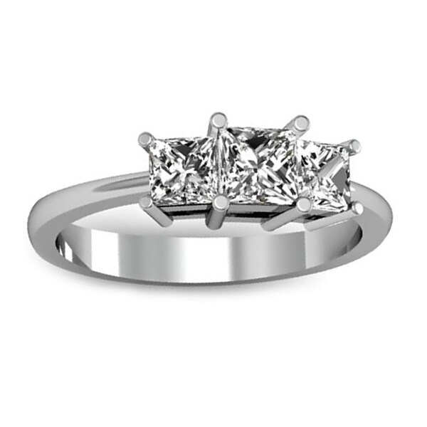 14k White Gold 1ct TDW Princess-cut 3-Stone Diamond Engagement Ring (H-I, I1-I2)