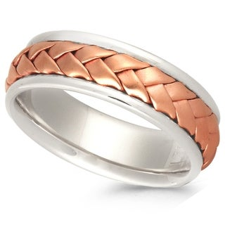 14K Two-tone Gold Men's Comfort Fit Handmade Woven Wedding Band