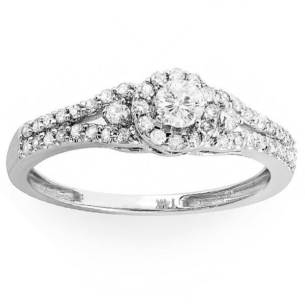 14k White Gold 1/2ct TDW Split Shank Halo Diamond Ring (H-I, I1-I2)