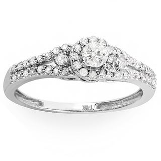 14k White Gold 1/2ct TDW Split Shank Halo Diamond Ring (H-I, I1-I2)
