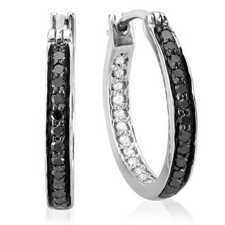 Sterling Silver 3/8ct TDW Black and White Diamond Hoop Earrings (I-J, I2-I3)