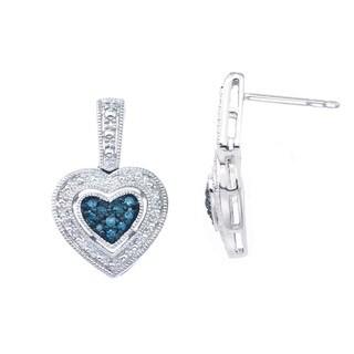 Sterling Silver 1/10ct TDW Blue Diamond Heart Earrings