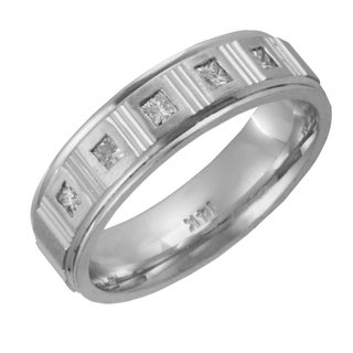 14k White Gold 1/4ct TDW Men's Comfort Fit Diamond Wedding Band (G-H, SI1-SI2)