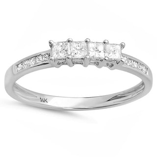 14k White Gold 1/2ct TDW Princess Cut 4-stone Diamond Ring (H-I, I1-I2)