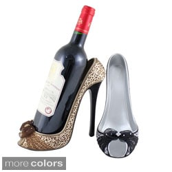 Jacki Design Pin Up Cheetah Peep Toe High Heel Wine Bottle Holder