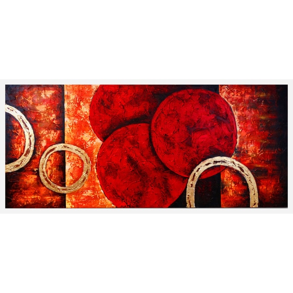 'Contemporary Rings' Hand-painted Canvas Art