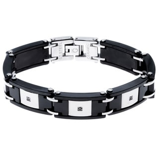 Black Ceramic and Stainless Steel 1/10ct TDW Diamond Bracelet