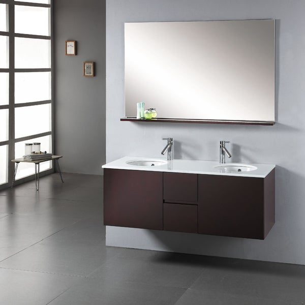 Virtu usa matteo 51 inch double sink bathroom vanity set - 52 inch bathroom vanity double sink ...