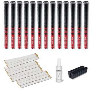Golf Pride New Decade MCC 0.580 Red Ribbed - 13pc Grip Kit (with tape, solvent, vise clamp)