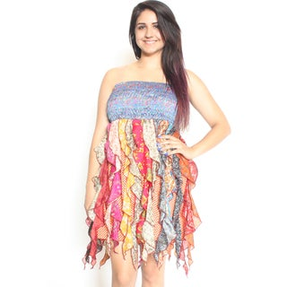 Women's Elastic Top Multicolored Silk Octopus Dress (Nepal)