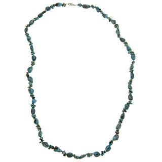 30-inch Sterling Silver and Turquoise Chip Necklace