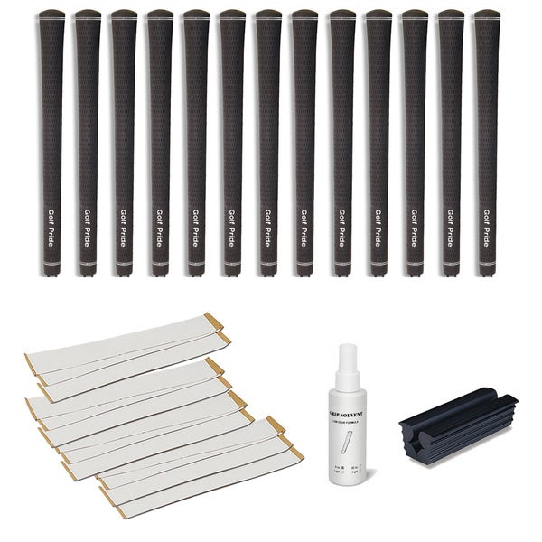 Golf Pride Tour Velvet Undersize 0.580 Ribbed - 13pc Grip Kit (with tape, solvent, vise clamp)