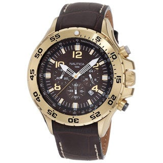 Nautica Men's Leather N18522G Brown Leather Quartz Watch with Brown Dial