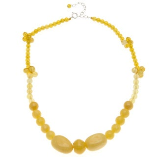 Sterling Silver and Yellow Quartzite Necklace