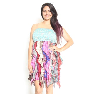 Women's Elastic Top Colorful Silk Octopus Dress (Nepal)