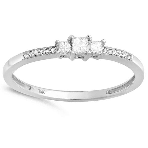 14k White Gold 1/5ct TDW Three Stone Diamond Ring (I-J, I2-I3)