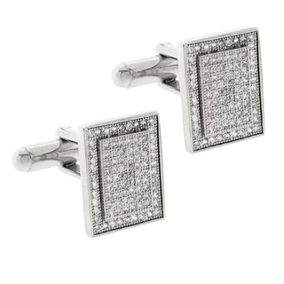 Moise Silvertone Pave Cubic Zirconia Rectangle Cuff Links