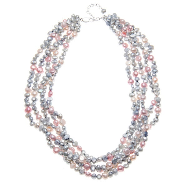 20-inch Grey Pink Pearl 5 Strand Neckace ( 2-3mm)