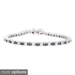 14k White Gold 5cts TDW Black and White Diamond Tennis Bracelet (G-H, I1-I2)