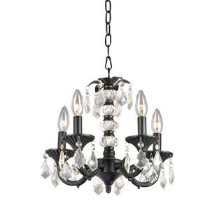 Alisa 5 Light Crystal Chandelier with Crystal and Metal Base