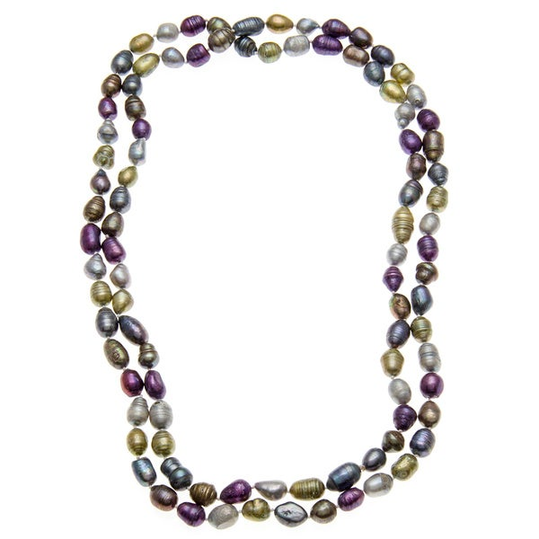 46-inch Multi-colored Baroque Pearl Necklace -purple, grey , gold