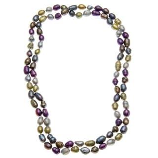 46-inch Multi-colored Baroque Pearl Necklace -purple, grey , gold