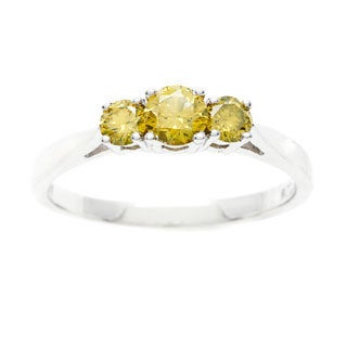 14k White Gold 1/2ct TDW Three-Stone Yellow Diamond Ring