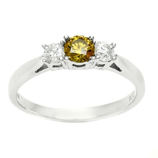 14k White Gold 1/2ct TDW Three Stone Yellow and White Diamond Ring