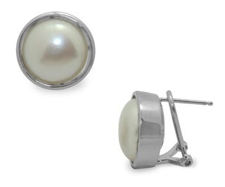 Gioelli Michelle Lee Sterling Silver FW Button Pearl Earrings (13-14 mm)