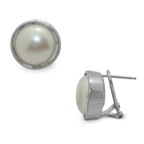 Gioelli Sterling Silver FW Button Pearl Earrings (13-14 mm)