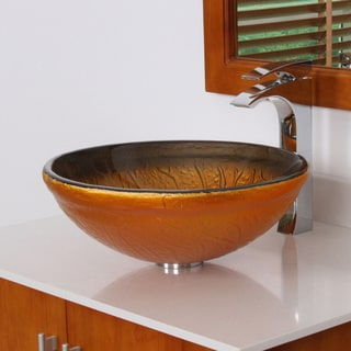 ELITE 7001 Modern Design Tempered Glass Bathroom Vessel Sink