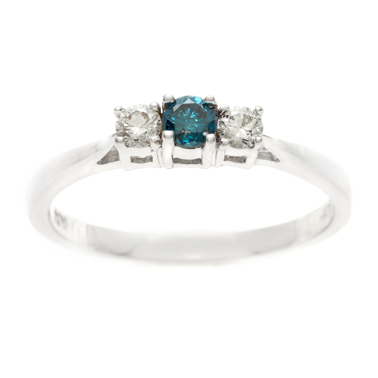 Overstock.com Sterling Silver 1/4ct TDW Three Stone Blue & White Diamond Engagement Ring