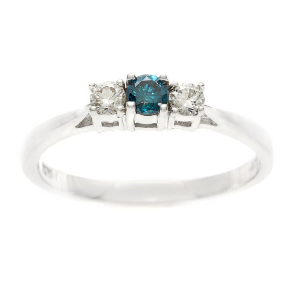 Sterling Silver 1/4ct TDW Three Stone Blue & White Diamond Engagement Ring