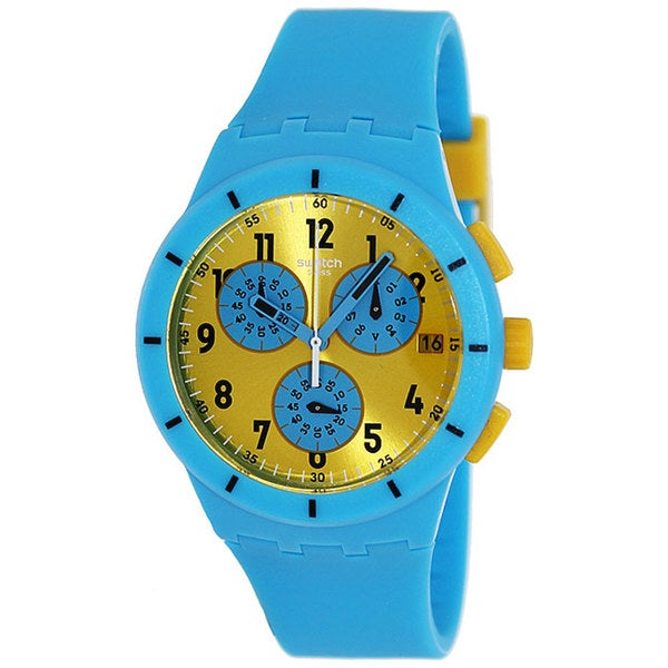 Swatch Men's Originals SUSS400 Blue Silicone Swiss Quartz Watch with Yellow Dial