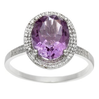 Sterling Silver and Round Amethyst Ring