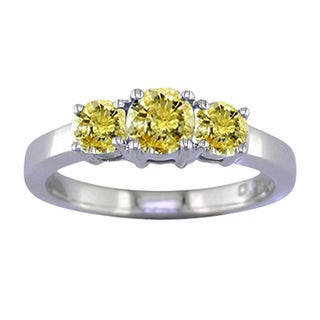 Sterling Silver 1/4ct TDW Yellow Diamond 3-stone Ring