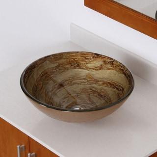 Elite 7003 Modern Design Tempered Glass Bathroom Vessel Sink