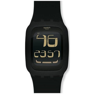 Swatch Men's Touch SURB100 Black Rubber Quartz Watch with Digital Dial