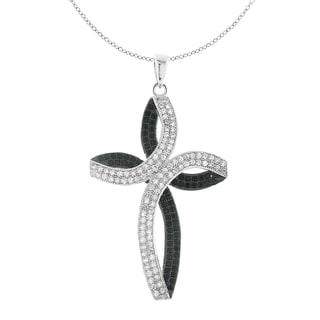 Moise Two-tone Black and White Cubic Zirconia Cross Necklace