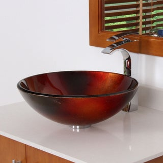 ELITE 7006 Illusion Design Tempered Glass Bathroom Vessel Sink