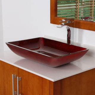 ELITE 7002 Illusion Burgundy Design Tempered Glass Bathroom Vessel Sink