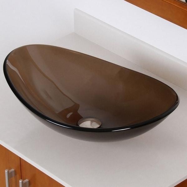 Elite 7007 Oval Design Tempered Glass Bathroom Vessel Sink