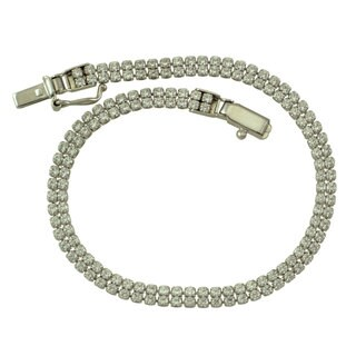 Sterling Silver Clear Cubic Zirconia 2-row Bracelet