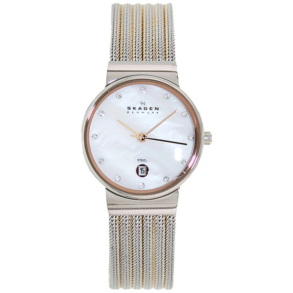 skagen s 355ssrs two tone stainless steel analog